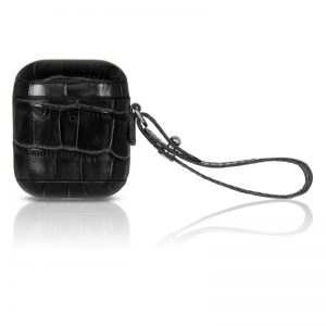 TORRII Bamboo Leather Case W Strap For AirPods-Black