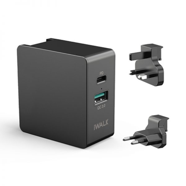 IWALK POWER ADAPTER POWER DELIVERY & QC 3.0 BLACK