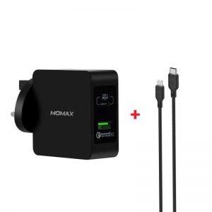 Momax ONE Plug 2ports Charging Adaptor QC3.0+PD Black