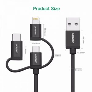 UGREEN 3in1 USB Cable Micro Lighting & USB C - BLK_alphastore_kuwait