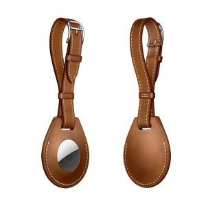 Wiwu Calfskin Luggage Tag Case For Apple Airtag -Brown