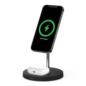 Belkin Boost Charge Pro 2-in-1 Wireless Charger Stand With Magsafe - Black