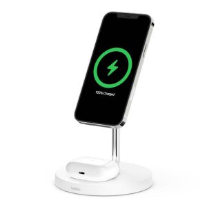 Belkin Boost Charge Pro 2-in-1 Wireless Charger Stand With Magsafe - White
