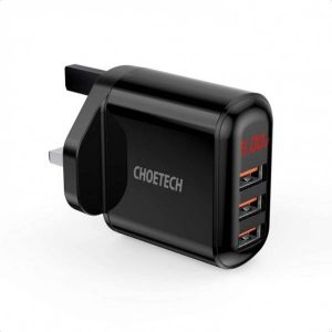 CHOETECH 3 Port USB Wall Charger with Digital Display
