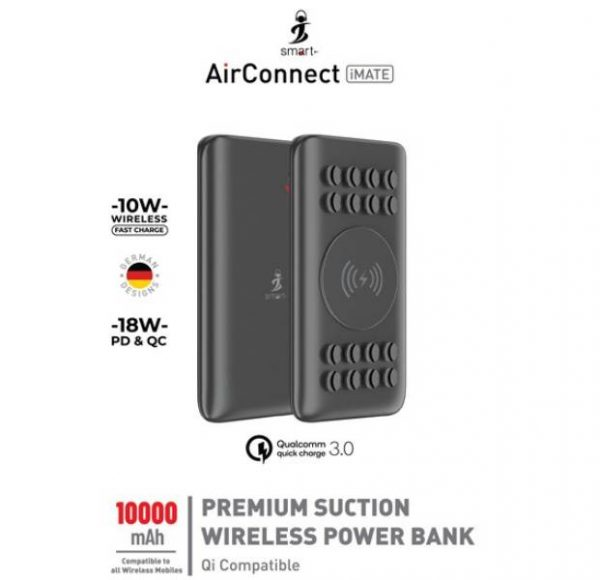 Smart AirConnect iMate 10W Fast charge + 18 W PD & QC Premium Suction Power bank 10000 Mah