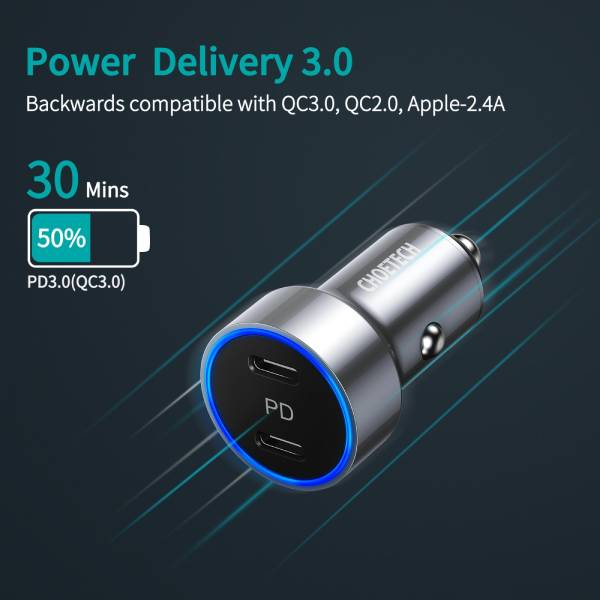 Choetech 40W Dual USB C Port Car Charger - White