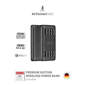 Smart AirConnect iMate 10W Fast charge + 18 W PD & QC Premium Suction Power bank 20000 Mah